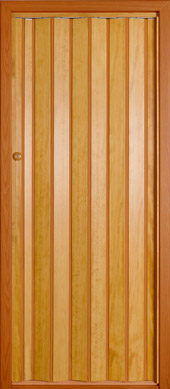 Wooden folding door.<br>Model DF - plain panels.<br>Stained and varnished.