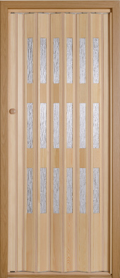 Wooden folding door.<br>Model TE - clear glazing.<br>Varnished.