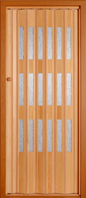 Wooden folding door.<br>Model TE - clear glazing.<br>Stained and varnished.