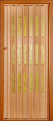 Wooden folding door.<br>Model TE - yellow glazing.<br>Stained and varnished.