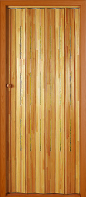 Wooden folding door.<br>Model ZE - narrow, yellow panes.<br>Stained and varnished.